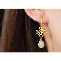 s925 sterling silver inlaid natural hetian jade petite womens new golden jade water drop eardrops ear hook earrings eardrops