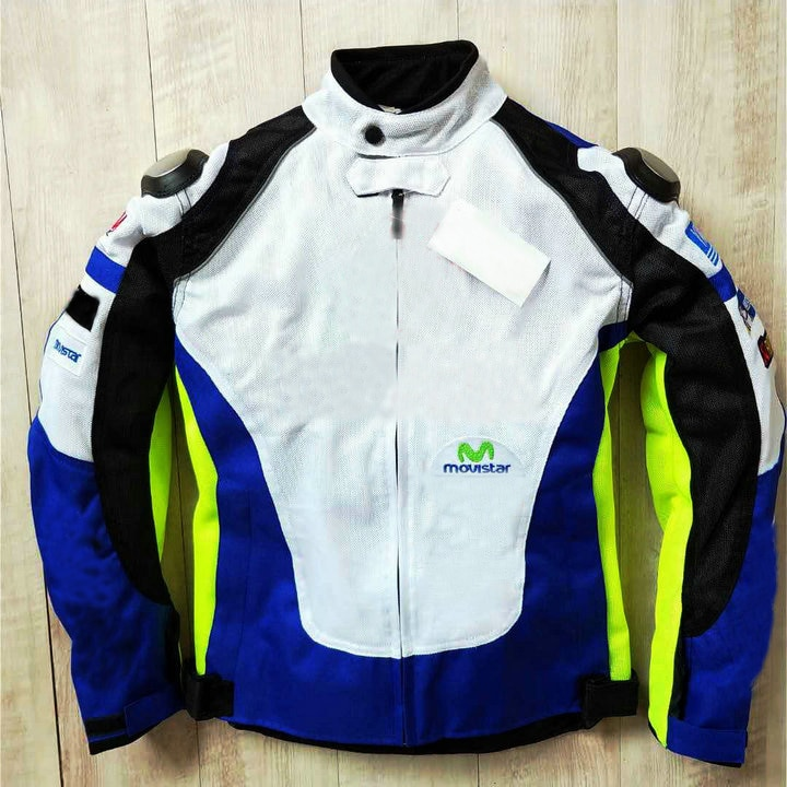 Chaqueta blanca y azul para moto Yamaha MX Dirt Bike, chaqueta de motocicleta de carretera con Protector