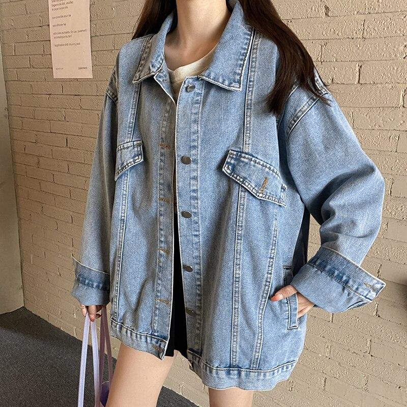 Куртка женская джинсовая оверсайз, модная уличная одежда из денима в винтажном стиле, в стиле Харадзюку, в Корейском стиле, осень