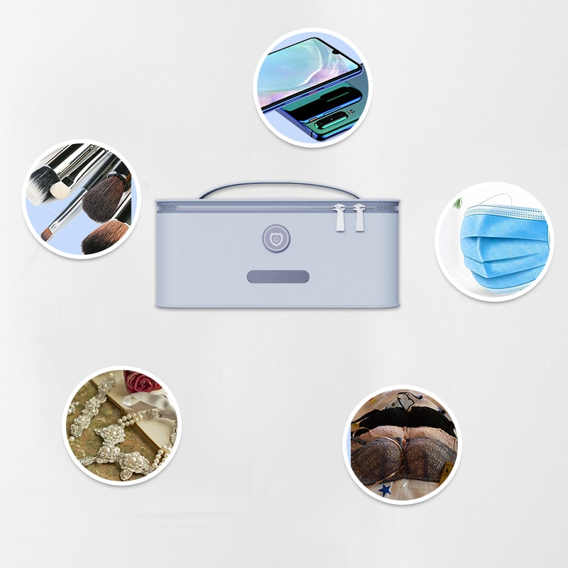 Bolsa de esterilización inteligente UVC bolsa de belleza ultravioleta profunda Almacenamiento de máscara EPALED portátil USB Plug-in Face Mask Case Mask Box