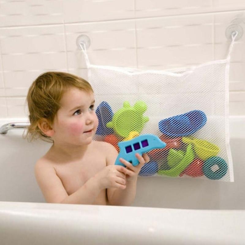 Children's Bath Play Toys Storage Bag Kid Bathroom Water Suction Cup Organiser Woven Mesh Oxford Fab
