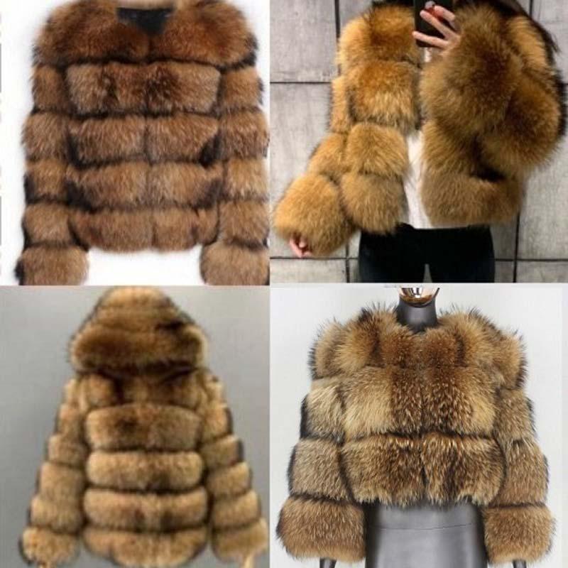 Hot Sale Faux Fur Coats Imitation Raccoon Dog Fur Overcoats Hooded Round Neck Spliced Short Women Brown Warm Winter Overcoats