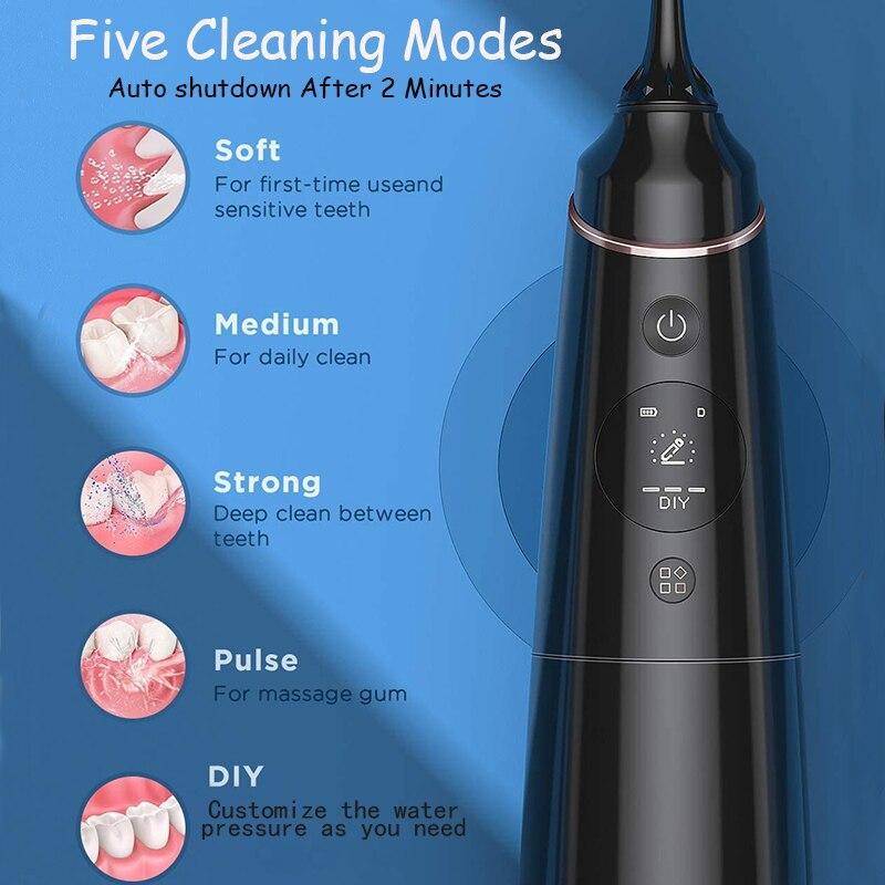 IPX7 Monddouche Draagbare Tandheelkundige Waterstraal Usb Oplaadbare Water Flosser Waterdicht Tanden Cleaner Cleaning Tanden enlarge