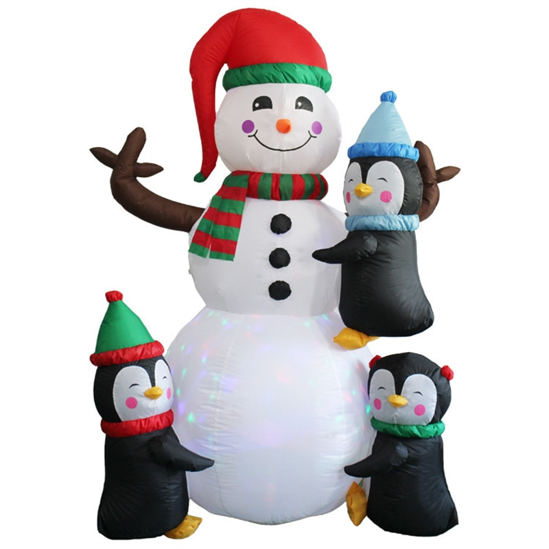 6ft Height Christmas Inflatable Snowman and Penguins with Colorful Rotating Led Lights Blow up Outdoor Yard Decoration Kids Toys