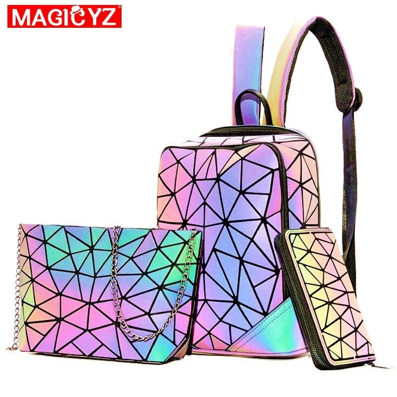 New Luminous Backpacks For Women 2021 set Travel Lady Daily backbag Mochilas Female Shoulder Bag Boys Girsl