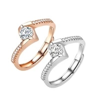 jrsr new 100 925 sterling silver geometric personality rings white zircon open rings 2020 woman diy jewelry gifts free shipping