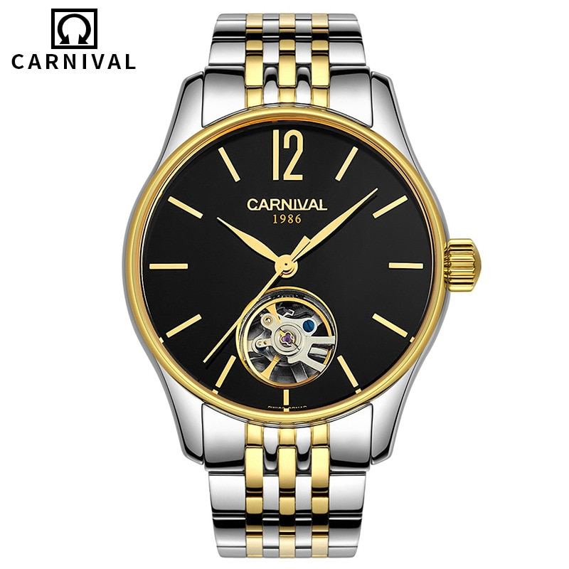 Carnival Brand Fashion Watch Man Luxury Business Mechanical Automatic Wristwatch Waterproof Gold Silver Hollow Relogio Masculino