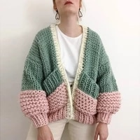 thick loose knit jacket women european and american hand knitted ball sweater fluffy sleeve cardigan new style ladies jacket