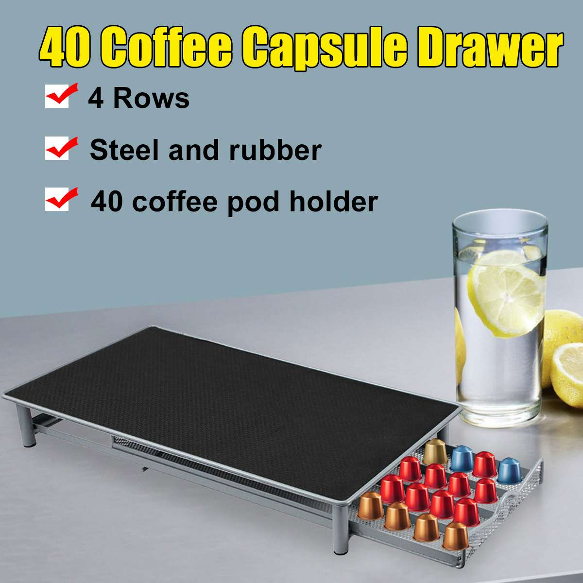40 cápsulas para Cápsula de café Nespresso soporte de almacenamiento cajón de Metal organizador estante de almacenamiento cajones cápsulas de café