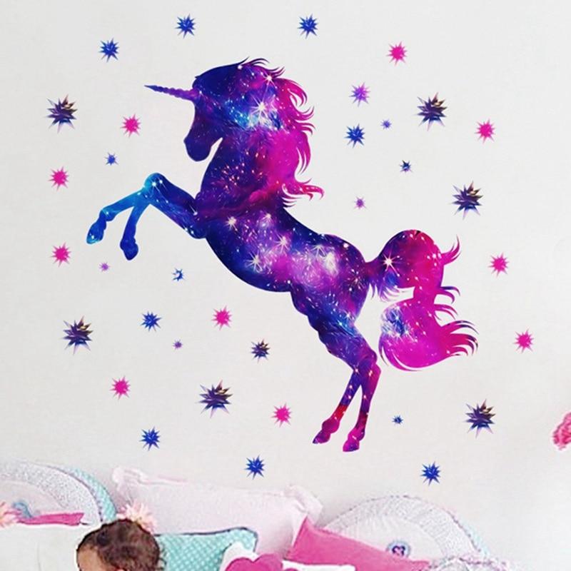 Dibujos Animados coloridos unicornio animales pegatinas de pared decoración de la habitación de los niños pegatinas de pared arte para la sala de estar guardería bebé niños Decoración