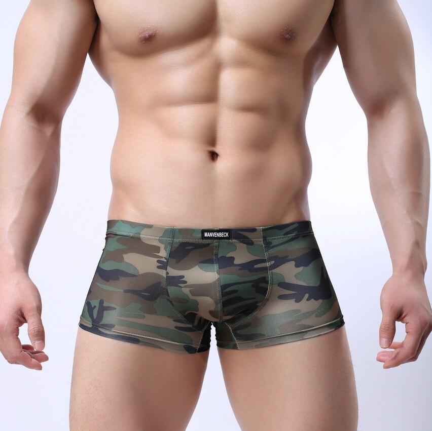 Roupa interior masculina moda impressão camuflagem boxer calças comércio exterior sexy u-convexo design de cintura baixa roupa interior masculina
