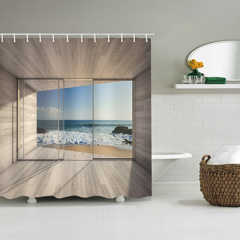 High Quality Sea Outside Glass Scenery Printed Fabric Shower Curtains Bath Waterproof Products Bathroom Decor With 12 Hooks