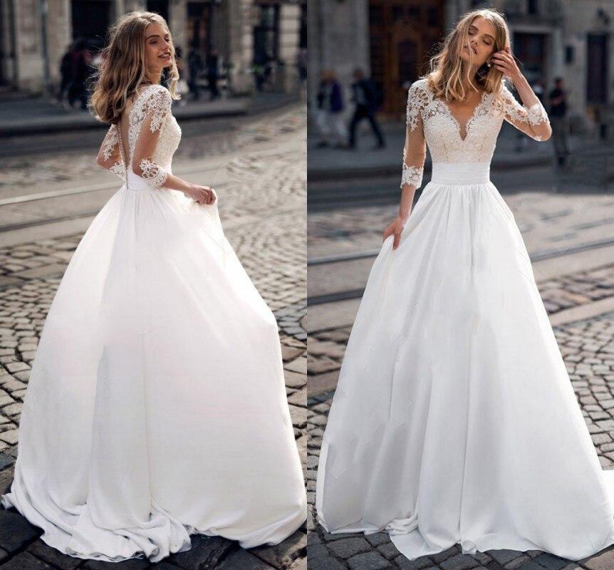 Bohemia boda Vestido 2021 apliques De encaje De cuello V mangas medio...