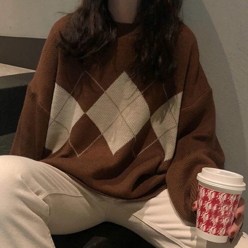 Женский вязаный свитер, модные пуловеры оверсайз, женский зимний свободный свитер, женский джемпер в студенческом стиле, женские свитера