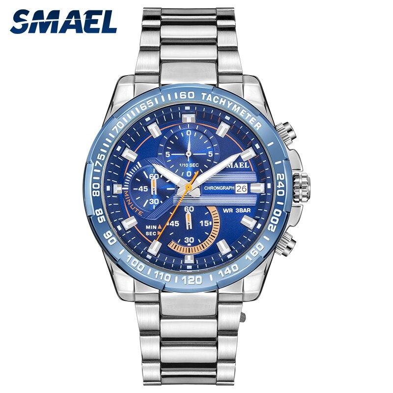 SMAEL модные мужские часы, часы с ремешком из нержавеющей стали, светящиеся синие часы, мужские спортивные наручные часы 9089