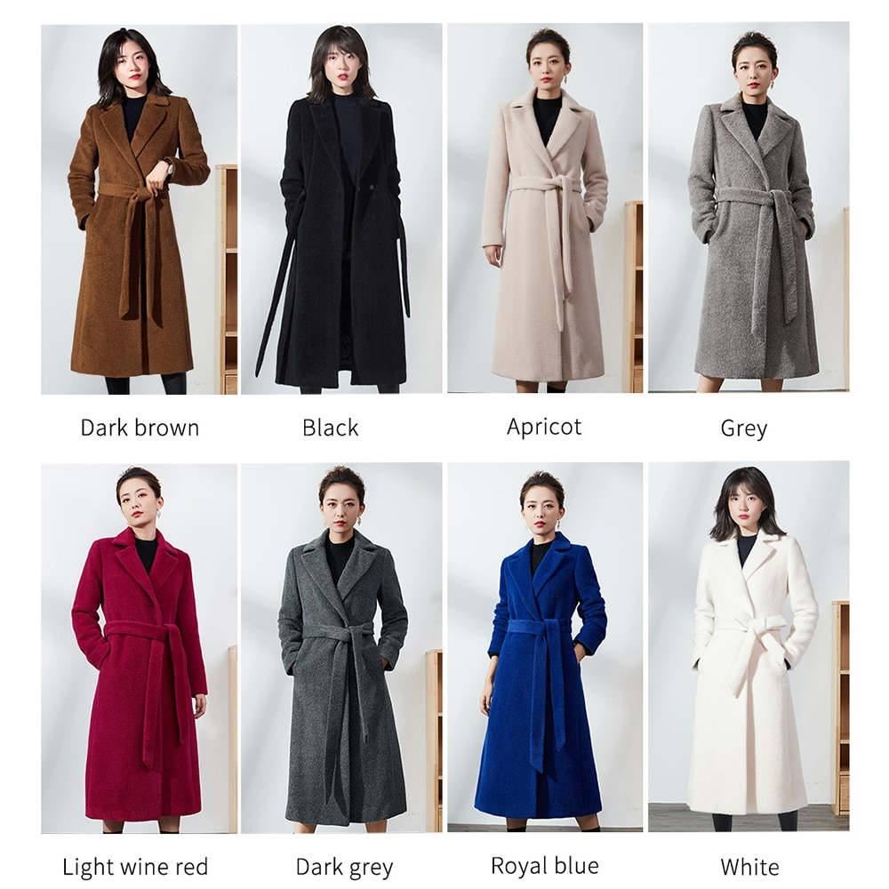 VIAOLI-معطف ألباكا طويل من الكشمير الناعم ، معطف صوف غير رسمي سميك ودافئ للشتاء