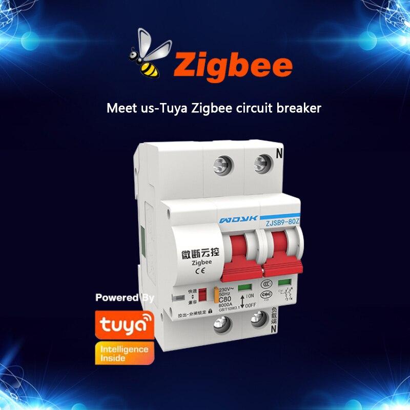 Tuya زيجبي 3.0 قاطع الدائرة الذكي 220 فولت 400 فولت وحدة التحكم في التبديل الذكية أتمتة المنزل العمل مع أليكسا جوجل المنزل