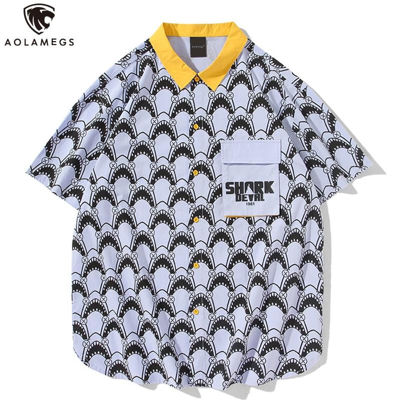 Camisa Aolamegs para hombre, camisetas de manga corta con gráfico de tiburones pequeños, camisetas Estilo de Calle Principal carga, ropa informal de verano