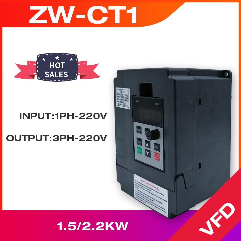 VFD العاكس VFD 1.5KW/2.2KW تردد العاكس ZW-CT1 3P 220V الناتج تردد تحويل VFD متغير تردد محرك VFD 1.5KW