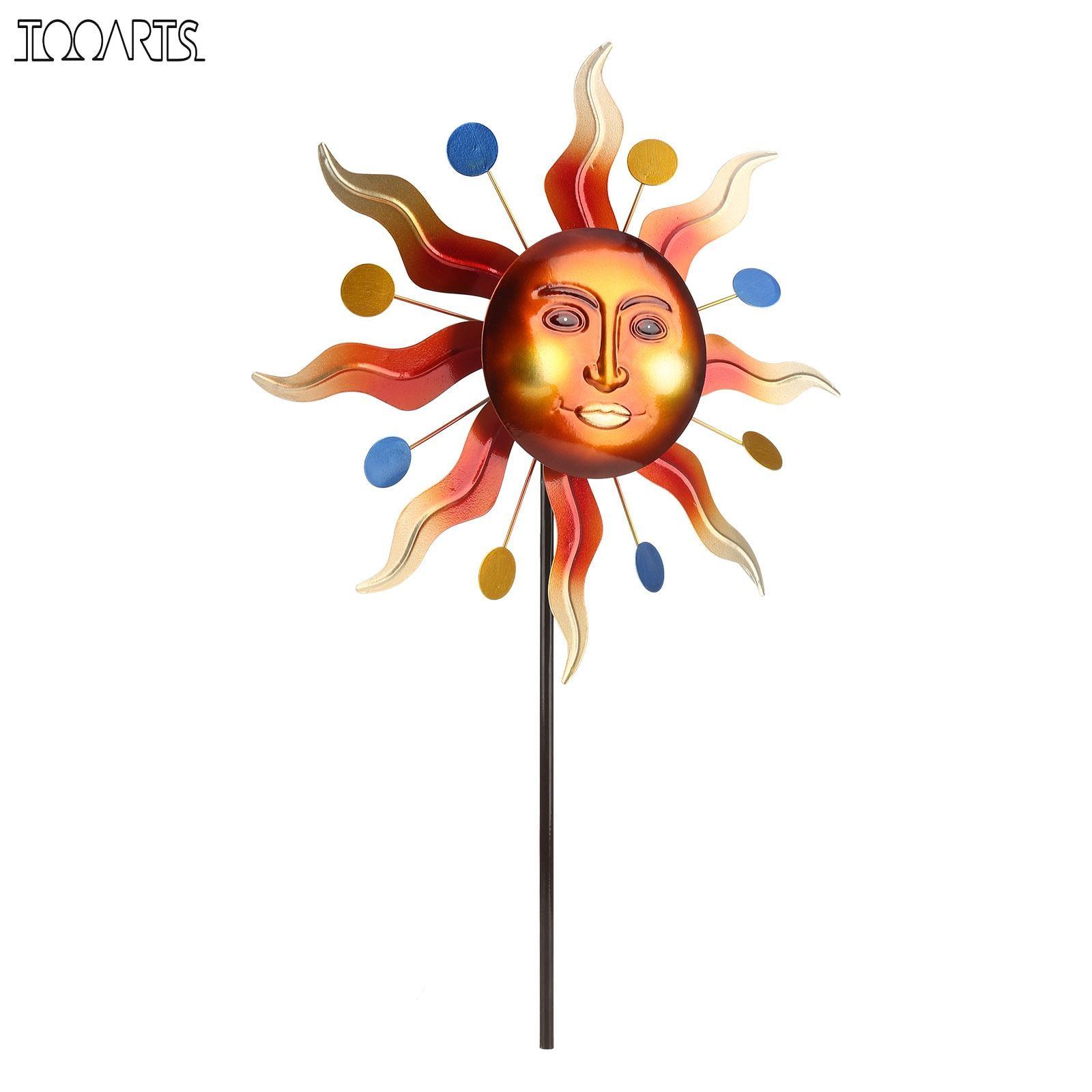 Tooarts-طاحونة هوائية مع وجه ضوء الشمس ، لوحة عاكسة ثلاثية الأبعاد ، ديكور حديقة وعشب ، نمط قديم