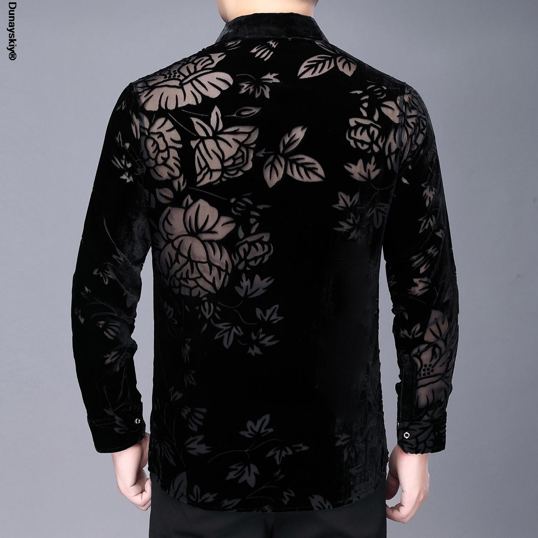عالية الجودة انظر من خلال زهرة قمصان الرجال الأعمال قميص مكتب غير رسمي 2021 المخملية طويلة الأكمام قميص Camisa أوم الرجال قميص