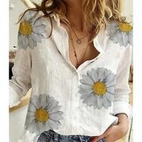 casual linen women blouse oversized bird butterfly printing autum long sleeve lady blouse top tee shirt streetwear female 2021