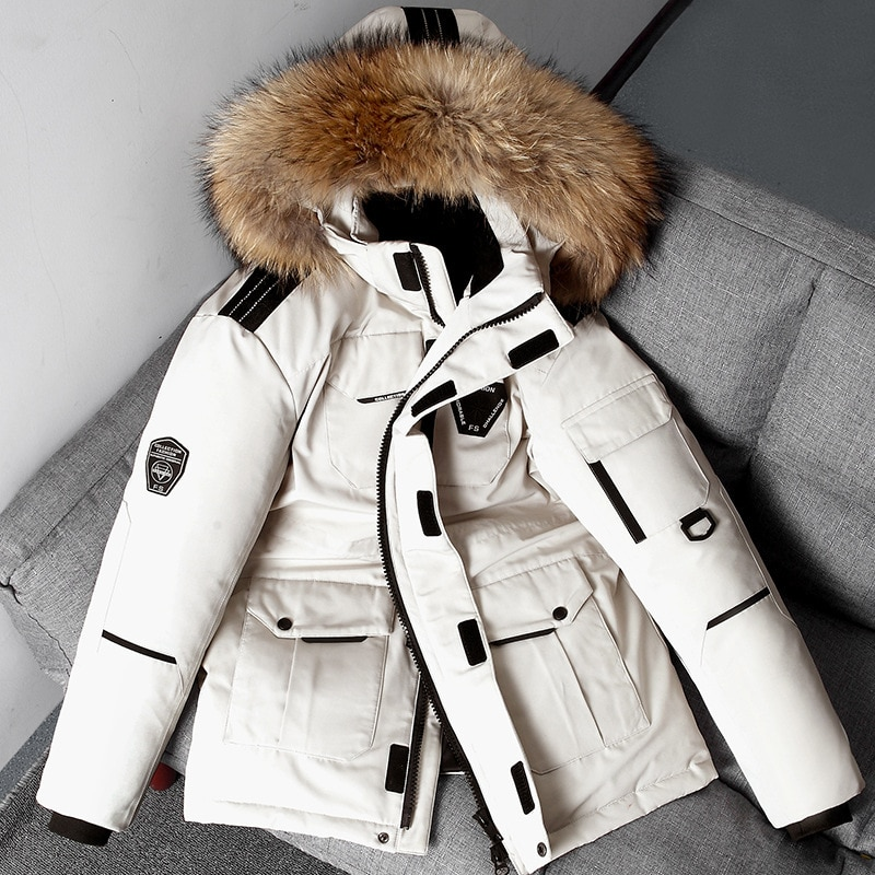 Мужская парка средней длины, пальто со съемным меховым воротником, водонепроницаемая куртка, мужской зимний пуховик, теплый Анорак на белом...