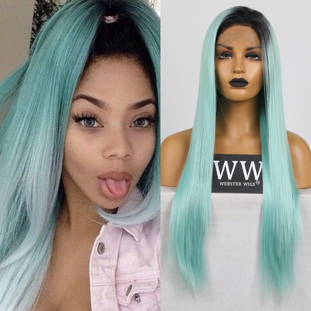 FANXITON Ombre Color Silky Straigt Wigs Heat Resistant Straight Cosplay Celebrity Girl Wedding Party Synthetic Lace Front Wig
