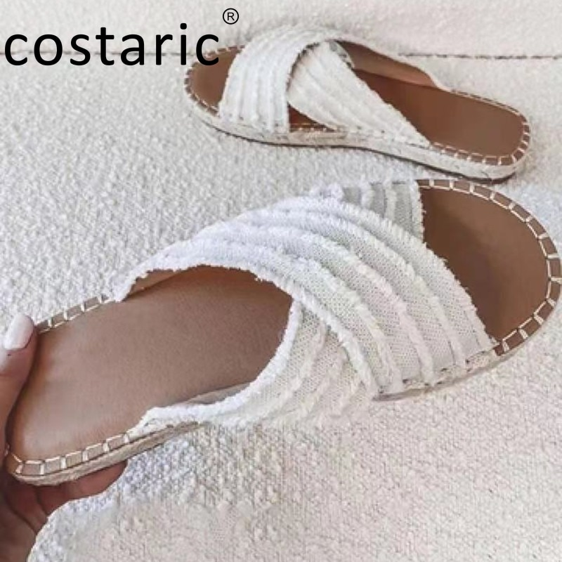 Size 43 Straw Cross Women Slippers Casual Ladies Shoes and Sandals Flat cloth Slides Bohemian Peep Toe Vintage Beach Slippers