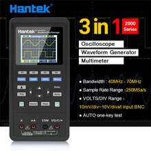 Hantek 3in1 Digitale Oszilloskop + Wellenform Generator + Multimeter Tragbare USB 2 Kanäle 40mhz 70mhz 2C42/2D72/ 2D42/2C72