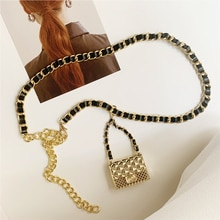 Cinturón de lujo con cadena para mujer, bolsa con cinturón, se puede abrir para Vestido vaquero, accesorios estéticos elegantes, tendencia de 2021