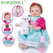 KUKADOLL 22 Inch Lovely Reborn Girl Doll 55 CM Cloth Body Likelife Bebe Reborn Menina Best Playmate Kids Birthday Xmas Gifts Toy