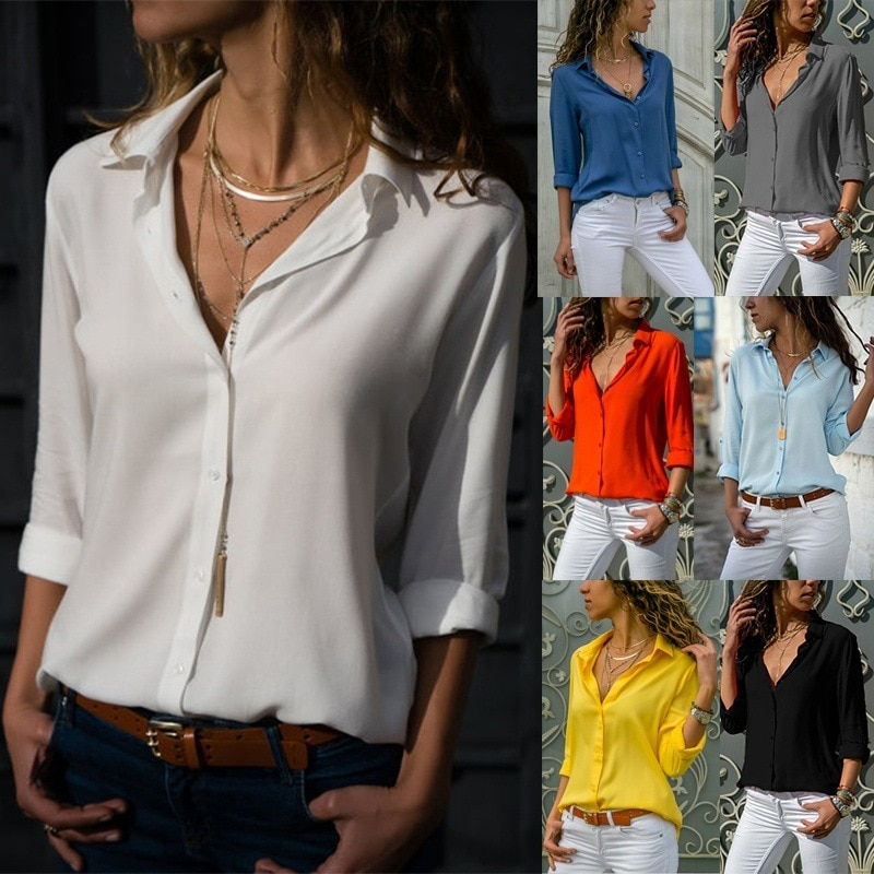 Women Chiffon Blouse Summer V-neck Long Sleeve Shirts & Blouses Ladies Work Shirt plus size 6XL Rd93