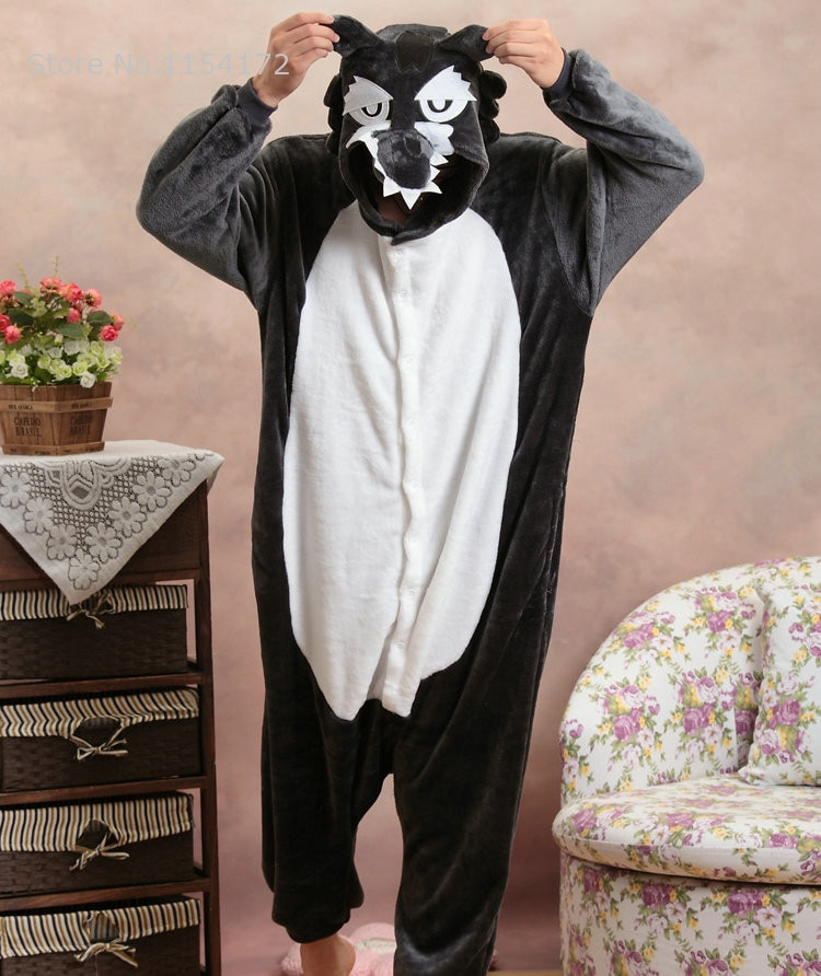 Pijama Kigurumi Wolf de Anime para adultos, pijamas de animales de dibujos animados, disfraz de Cosplay, pijamas para adultos, ropa de dormir para Halloween