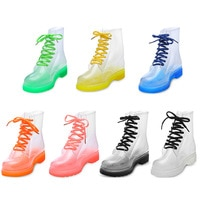 Aleafalling Women Rain Boots Mature Lady Lace Up Waterproof Lady Shoes Transparent Candy Color Ankle Outdoor Girl's Shoes889