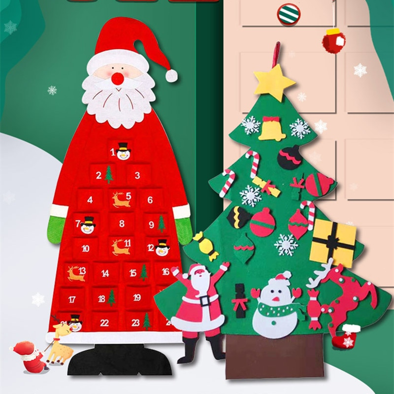 New 2022 Felt Christmas Tree DIY Collocation Fidget Toys For Children Room Party Soft Decorations Girl Stickers Gifts Montessori
