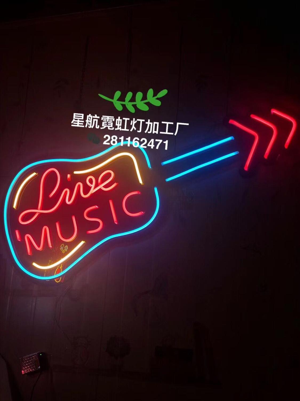 Guitarra de neón señal de luz Barra de señal abierta Dropshipping decoración tienda artesanías Led