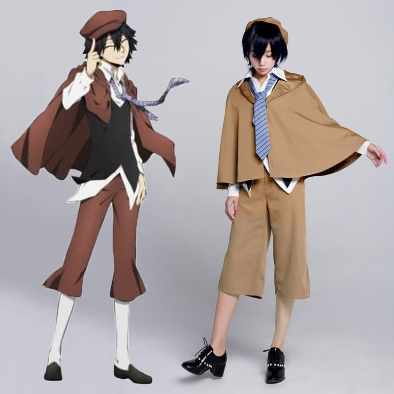 Novo Anime Bungo Cães Vadios Detetive Ranpo Edogawa Cosplay Trajes Colete & Manto Calças Gravata Chapéu Uniforme Terno Roupa 2022