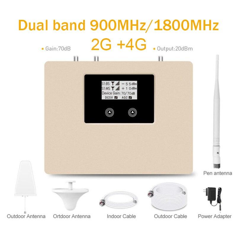 Новое обновление, Интеллектуальный двойной 900/1800MHz Мобильный усилитель сигнала 2G 4G Сотовый усилитель GSM LTE мобильный ретранслятор сигнала Ко...