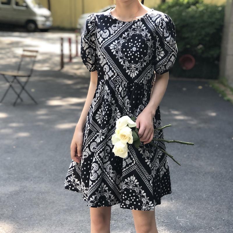 2020 estilo nacional vestido feminino solto gola redonda bolha manga vestido