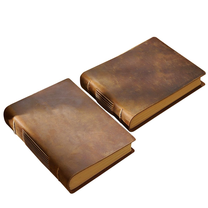 Handmade 100% Genuine Cow Leather Cover Notebook 200 Sheets Paper Travelers Journal Office School Record Notepad Handbook Gift