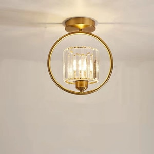 Crystal Aisle Light New Round Wrought Iron Ceiling Lamp for Entrance Balcony Corridor Cloakroom LED Copper Black E27