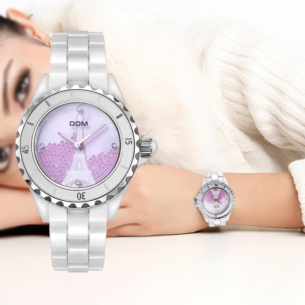 DOM Brand Fashion Watch Women Luxury Ceramic Wristwatch Women Dress Watch Casual Ceramic Clock Relogio Feminino T-598K