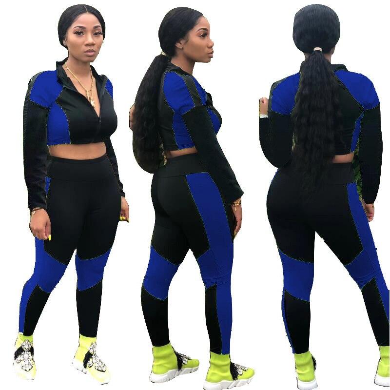 Invierno de las nuevas mujeres conjunto de chándal de manga larga de retales con cremallera a sudaderas pantalones traje de dos piezas conjunto deportivo trajes