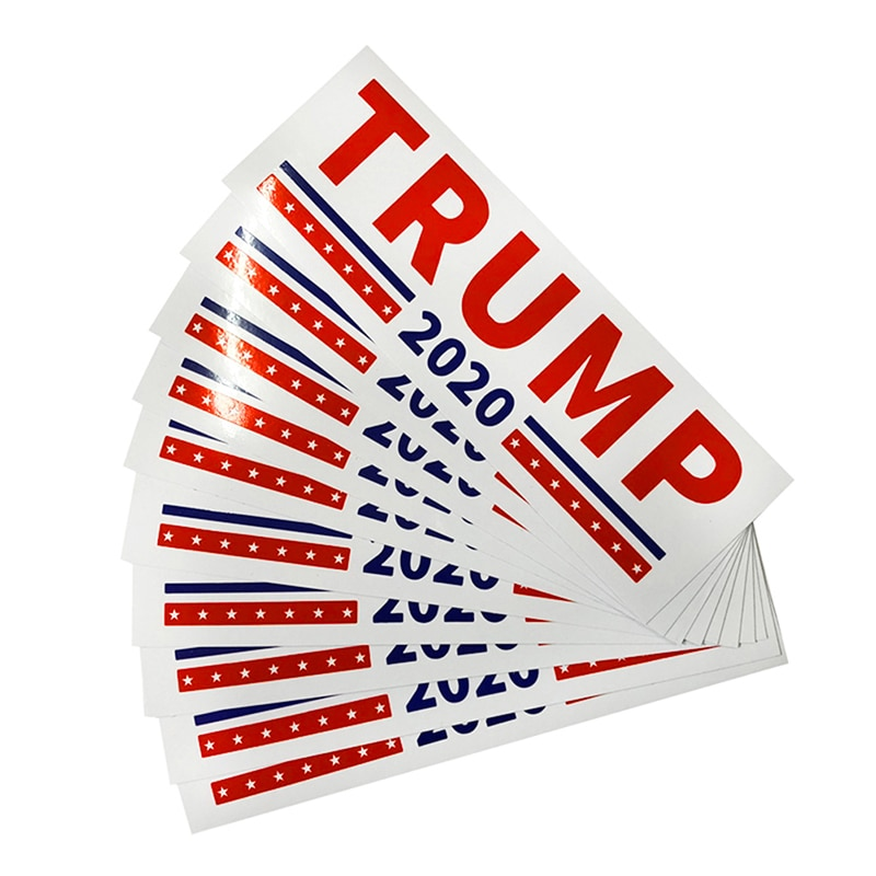 10 piezas de Donald Trump para Presidente 2020 parachoques cuerpo etiqueta engomada del coche de mantener hacer América Gran Decoración Estilo de coche de moda 23 cm x 7,6 cm