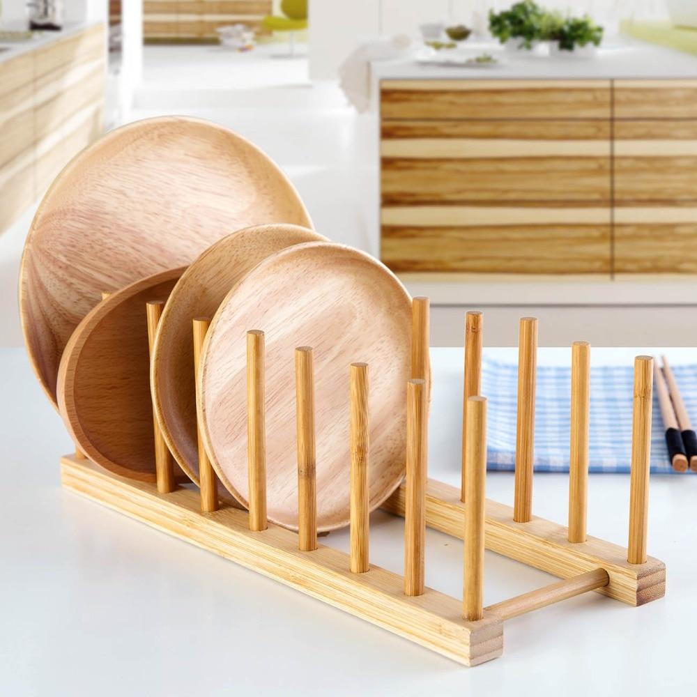 Wielofunkcyjny drewniany talerz stojąca suszarka pokrywka garnka miska kubek patera książki półka do przechowywania Organizer do kuchni