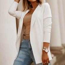 Fashion Women Solid Color Lapel Slim Cardigan Blazer Jacket Office Suit Coat