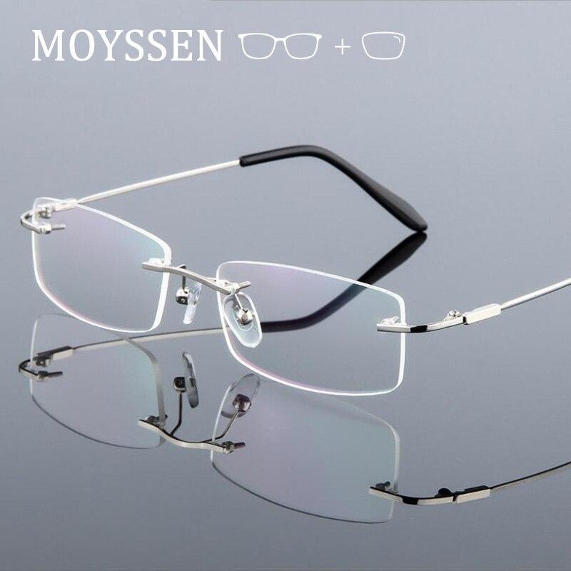 Classic Light Titanium Alloy Rimless Prescription Eyeglasses Optical Myopia Presbyopia Frameless Gla