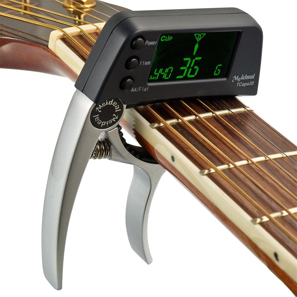 Multi-use TCapo20 Guitar Capo Tuner with Large LCD Display for Acoustic Folk Electric Guitar 2 In 1 Bass Guitar Tuner and Capo enlarge