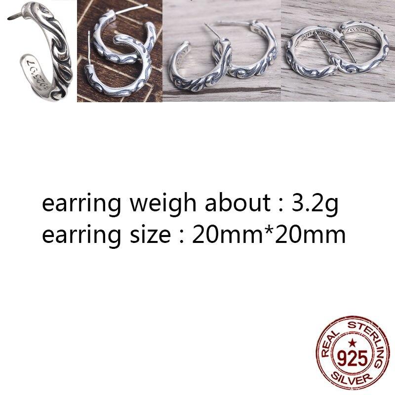 E21 S925 srebro kolczyki osobowość retro punk hip-styl hiphopowy wieczny krzyż kwiat list kształt popularna biżuteria new hot